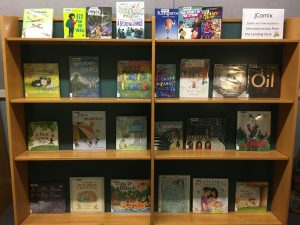 [Kids books displayed on the shelves at the entrance of the Youth Services Area.]